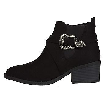 Women's Microsuede Chelsea Boots with Western Buckle Slip-On Fashion Shoes