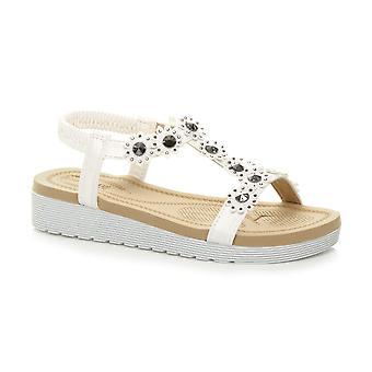 Ajvani naisten matala kiila kantapää tasainenmuodossa Diamante kukka t-Bar slingback sandaalit