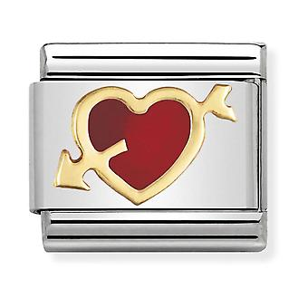 Nomination Classic Red Heart with Arrow Steel, Enamel and 18k Gold Link Charm 030207/12