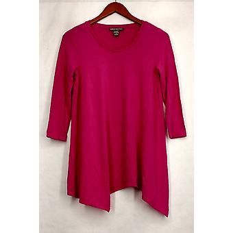 Kate & Mallory Top 3/4 Sleeve Scoop Neck Asymmetrical Hem Pink A430986
