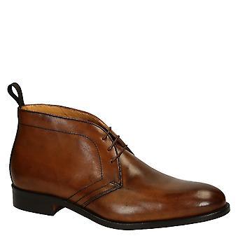 Leonardo Shoes Men-apos;s robe à lacets à lacets chaussures en cuir de veau tan