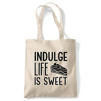 Indulge Life Is Sweet Tote | Signature Creme Pat Hollywood Handshake Winner | Reusable Shopping Cotton Canvas Long Handled Natural Shopper Eco-Friendly Fashion