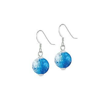 Ewige Sammlung Karneval blau Tschechische Glas Crackle Perle Silber Ton Tropfen durchbohrt Ohrringe