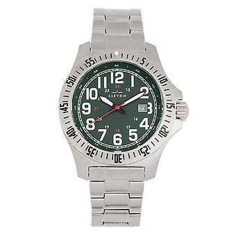 Elevon Aviator Bracelet Watch w/Date - Silver/Green