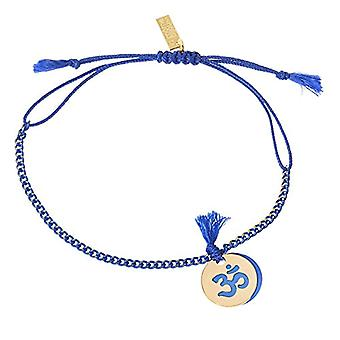The M me Bijou Woman Plated Gold lacquer Om - Length 26 cm - Gold Plate - Color: Blue - cod. COR101TOG P6