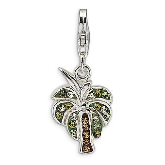 925 Sterling Silver Rhodium plated Fancy Lobster Closure Polished Crystal Palm Tree With Lobster Clasp Charm Pendant Nec