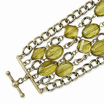 Mässing ton Gröna akrylpärlor 8inch Växla Armband Smycken Gåvor för kvinnor