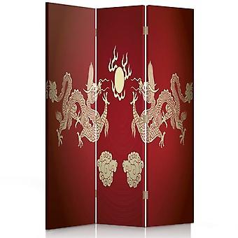Divisor de habitaciones, 3 paneles, de una cara, de lona, de dos dragones