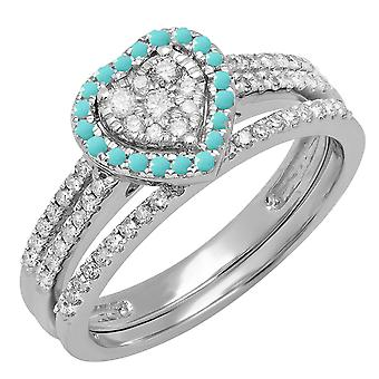 Dazzlingrock Collection 14K Round Turquoise & White Diamond Ladies Heart Shaped Engagement Ring Set, White Gold