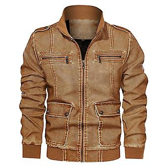 Allthemen Men's Double-Pocket Plush Warm Work Casual Leather Coat