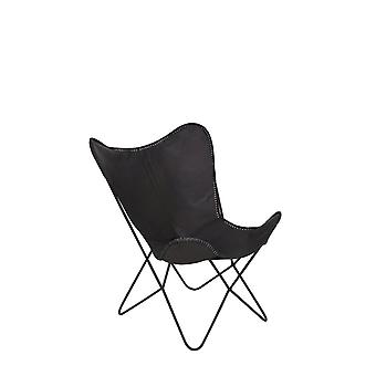 Light & Living Butterfly Style Dark Brown / Black Leather Chair 75x87x86cm