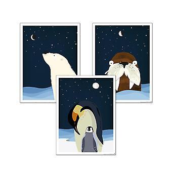 Kinderzimmer Poster Polar 3er-Set, 30 x 40 cm Eisbär, Walross und Pinguin Mutter mit Kind Kleinformat