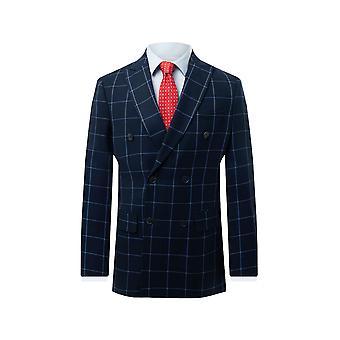 Dobell mens Navy Windowpane selectievakje jas regular fit double breasted piek revers