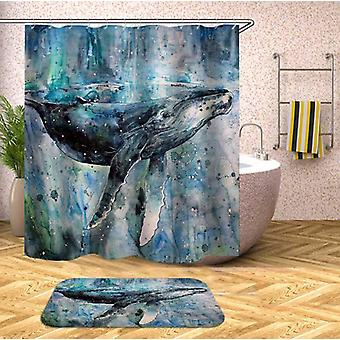 Art Painting Blue Whale Shower Curtain