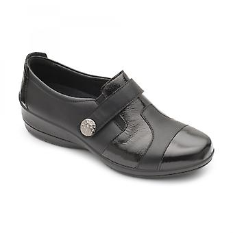 Padders Endure Ladies Leather Wide (e/2e) Shoes Black