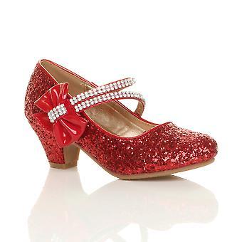 Ajvani filles faible talon fête mariage mary jane style crochet & boucle chaussures sandales d'école
