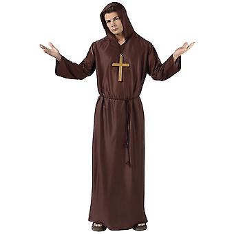 Monk Priest Medieval Friar Tuck Brown Robe Religious Adult Mens Costume OS