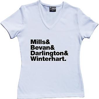 Kula Shaker Line-Up V-Neck White Women's T-Shirt