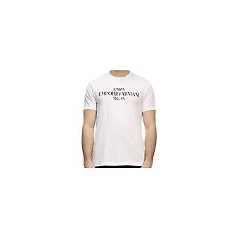 エンポリオ アルマーニ綿プリント ロゴ ホワイト t シャツ