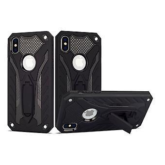 iPhone XS Max case, panssarin vahva iskunkestävä kova kansi jalusta, musta