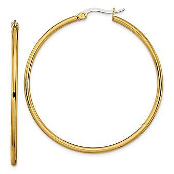 Acero Inoxidable Oro con Flashed Pulido Hinged post amarillo IP plateado 48mm aro pendientes joyería regalos para las mujeres