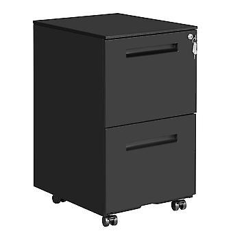 Schwarze MetallSchublade mit abschließbarer Schublade-2 Schubladen