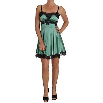Dolce & Gabbana Green Silk Stretch Black Lace Dress