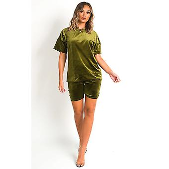 IKRUSH Womens Anna Velvet Tshirt and Shorts Co-ord