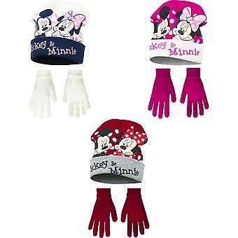 Disney Minnie Mouse děti dívky Mickey & Minnie zimní klobouk a rukavice set