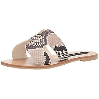 STEVEN door Steve Madden Women's Greece Sandal, White/Black, 8 M US