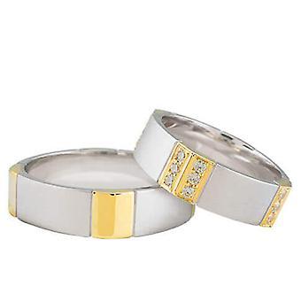 Bicolor wedding rings with 24 diamonds
