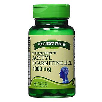 Nature's truth acetyl l carnitine hcl, 1000 mg, cápsulas de liberação rápida, 30 ea