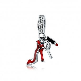 Sterling Silver Pendant Charm Shoe, Mirror, Make-up - 5394