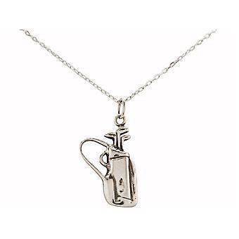 Gemshine cadeia de golfe saco de golfe clube 925 prata, banhado a ouro, rosa, jóias esportivas