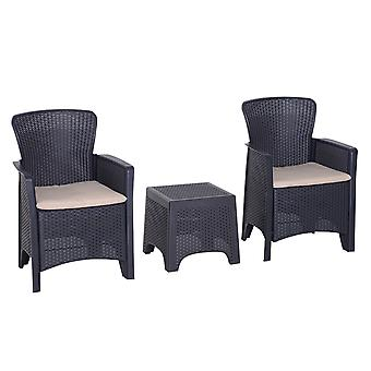 Outsunny 3 PCS Rattan Effect Garden Bistro Set  2 Chairs & Coffee Table Set with Cushion Patio Lawn Balcony Furniture - Dark Brown