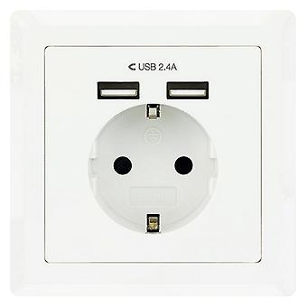 Seinäpistoke 2 USB-porttia NANOCABLE 10.35.0010 5V / 2.4A valkoinen