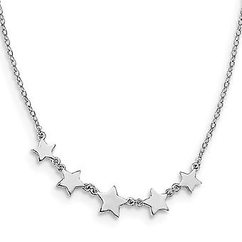 925 Sterling Silver Rhodium plated Stars With 2inch Ext. Necklace 15 Inch - 2.1 Grams