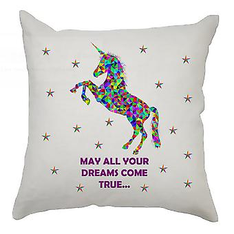 Unicorn Cushion Cover 40cm x 40cm - May All Your Dreams Come True