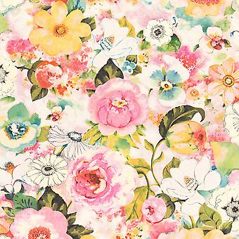 Lucy in the Sky Floral Print Wallpaper Multi Rasch 803549