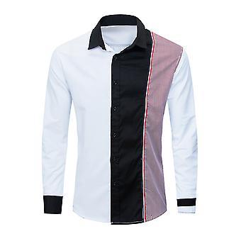 Allthemen Men's Loose Casual Shirt Farbe passende langärmelige Shirt