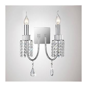 Emily Wall Light With Switch 2 Bulbs Polished Chrome / Crystal