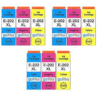 3 Sæt med 3 blækpatroner til udskiftning af Epson 202XL C/M/Y-kompatibel/ikke-OEM fra Go-blæk (9 trykfarver)