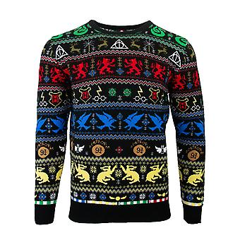 Offizielle Harry Potter Häuser Weihnachten Pullover / hässliche Pullover