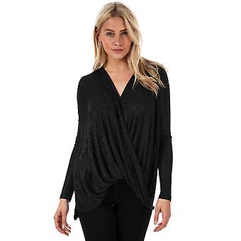 Femmes-apos;s Vero Moda Mandy Long Sleeve Glitter Wrap Top en noir