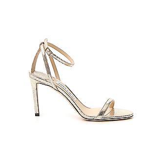 Jimmy Choo Minny85mztlightgold Women's Gold Leather Sandals