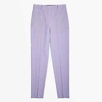PS Paul Smith  - Windowpane Check Cotton Trousers - Lilac