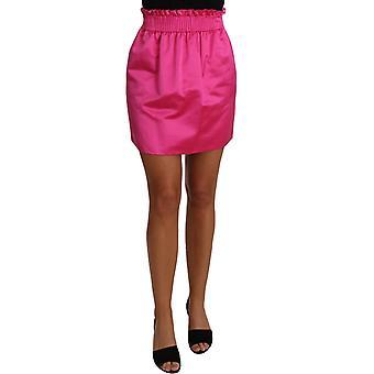 Dolce & Gabbana Paperbag Mini Skirt Pink 100% Silk Short -- PAN6698864