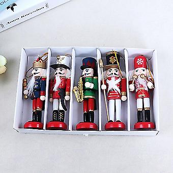 New Year Decor Wooden Nutcracker Soldier Kids Doll 12cm - Merry Christmas Decoration Pendants Ornaments For Xmas Tree Decor