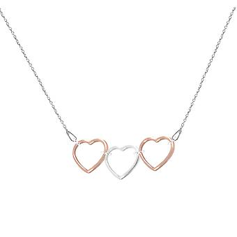 Ah! Gioielli 18K Rose Gold Vermeil Over Sterling Silver e Sterling Silver Two Tone Heart Outline Necklace, Timbrato 925.