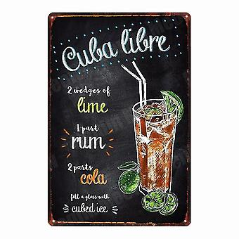 Vintage Dark Stormy Plaque Metal Tin Signs - Pina Colada Poster For Bar, Pub,